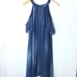 Chico's 3 cold shoulder handkerchief dress blue